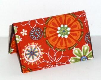 Business Card Case - Business Card Holder - Credit Card Case - Gift Card Holder - Checkbook Cover - Orange - Floral
