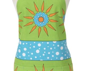 Green Long Apron with Pockets - Green Flowerpop