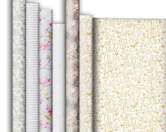 Jillson & Roberts Premium Gift Wrap Roll Assortment, Wedding Designs (6 Rolls)