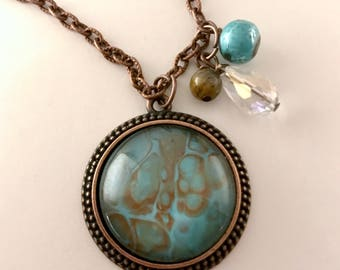 Teal/Brown Pendant in Copper Setting