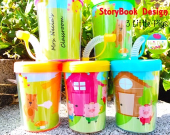 3 little Pigs Storybook Personalized Party Favor Cups ,Party Favor Cups Set of 6, 3 little Pigs Classroom . Party, for Kids, Party Favors