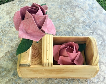 Origami roses in wood