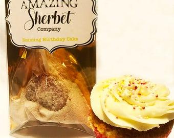 Birthday cake sherbet with lollipop