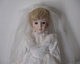Vintage Heritage Bridal Doll Porcelain Blonde - Collector's Bridal Dolls - Vintage Heritage Porcelain Dolls