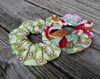 Hair Scrunchie Set: Green with Orange Floral and Pink Floral