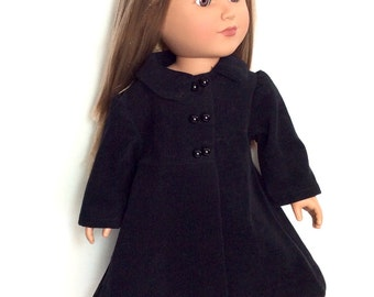 Black Doll Coat, Corduroy Doll Coat, Winter Doll Clothes, 18 Inch Doll Clothes, Made to Order