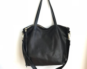 Large black Leather tote bag with zipper - Black leather tote - laptop bag - crossbody tote - hobo bag - overnighter- Sale