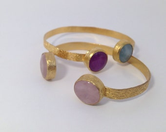 Twostone,Gemstone bangle handmade Turkish jewelry