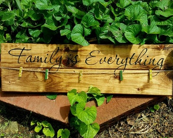 Clothes pin photo collage, Picture collage, Family is everything wall decor, Twine photo display, Rustic home decor, Awesome gift idea