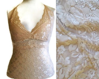 Vintage Lace Halter top, Halter top, lace top, Nude lace top, summer top, beige top, cream halter top, tie top, nude top, 90s vintage