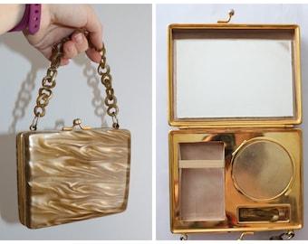 Vintage original 1950s 50s toffee marbled lucite vanity case minaudière handbag or evening bag statement piece!
