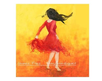 DANCER in a RED DRESS. Fine Art Giclée Print on Wood. Ink Painting by Laumee. Small Art Print. Dancing Woman. Red, green, yellow wall art