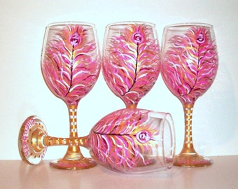 Bridesmaids - Hot Pink and Gold Peacock Feathers 4 - 20 oz. Hand Painted Wine Glasses Bridal Showers Weddings Personalization Bachelorette