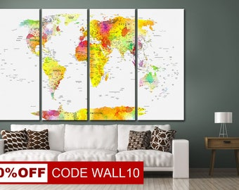 Yellow world map art, World Map Art Canvas, Abstract World Map, Large Canvas map, World Map Canvas, World Map Wall Art, World Map Canvas