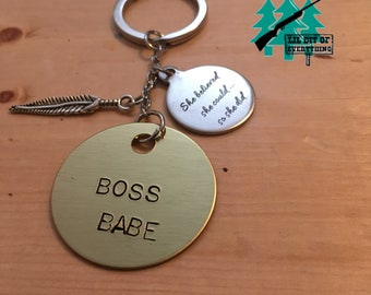 BOSS BABE Stamped Keychain