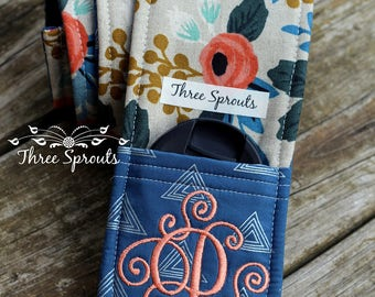 Camera Strap, Camera Strap Cover, Monogrammed Camera Strap, Padded Camera Strap, Rifle Paper Co Fabric -Rosa Flora BLUE Pocket