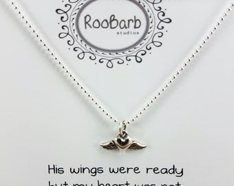 Angel Wing Heart Necklace - Sterling Silver