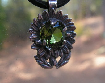 Sterling Silver Sunflower Pendant With Peridot
