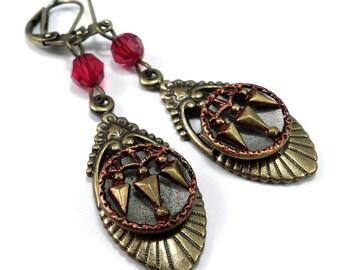 Antique Button Earrings, Scarlet Red, Victorian Button Earrings, Edwardian Teardrop