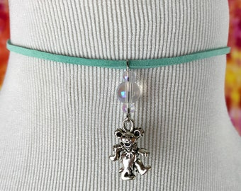 Grateful Dead Dancing Bear Silver Charm Iridescent / Turquoise / Aqua Choker Necklace