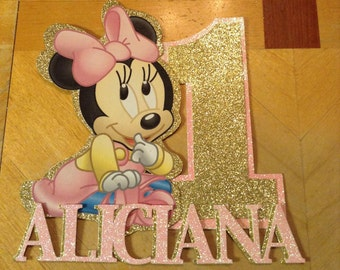 Personalized Baby Minnie Mouse 1st Birthday Cake Topper