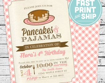 Printed Pancakes Birthday Invitations and Envelopes
