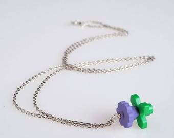 "Lego Flower necklace, sky blue - Collection ""Djouland"""