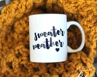 Sweater Weather Mug   Coffee Mug   Holiday Coffee Mug   Hot Chocolate Mug   White Mug   Lettered Mug   Coffee   Navy and White Mug