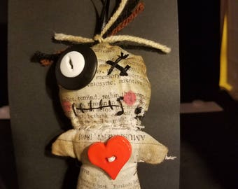 Voodoo Doll with Tim Holtz Newspaper Print Fabric