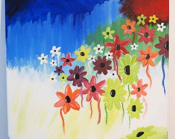 Abstract Flower Acrylic Canvas Painting