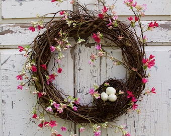 Cherry Blossom Wreath, Spring Wreath, Nest Wreath, Natural Wreath, Door Wreath, Romantic Wreath, Cottage Chic