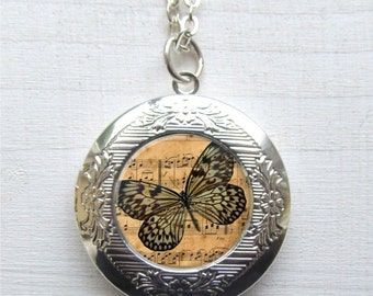 Locket, Altered Art Locket, Butterfly Jewelry, Butterfly Pendant, Photo Locket