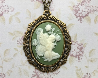 Fairy Necklace - Fairy Jewelry - Cameo Necklace - Fairies - Faerie Jewelry - Fairy Tale Jewelry - Cameo Pendant - Fairy Tale Necklace