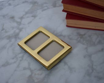 Mini Dual Frame in Gold // Standing Frame // Vintage // Antique // Retro // Holiday Decor // Gift for Her // School Picture // Family Pics