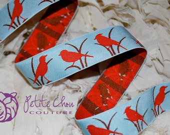 "red bird woven jacquard 7/8""  ribbon blue background - 1 yard"