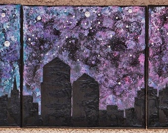 Custom Skyscapes 1 or 3 panel mixed media galaxy with Rhinestones and glitter.