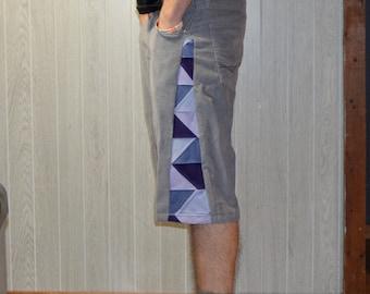 Patchwork Corduroy Shorts Gray Purple Hippie Handmade Festival Heady Upcycled Mens 32