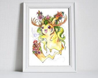 A3 Kokiri-Chu! Pikachu and Kokiri's Emerald/spiritual stone of the Forest, Pokemon and The Legend of Zelda Ocarina of Time Crossover print