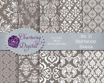 Brown Damask Digital Paper, Brown Scrapbooking Digital Paper, No. 33 Driftwood Damask