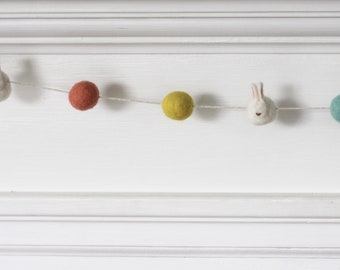 Spring Felted Bunny Garland, Easter Decoration