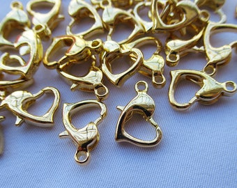 15pcs Golden Dolphin Clasps 8mm Heart Lobster Claw Clasps Brass Clasps t121