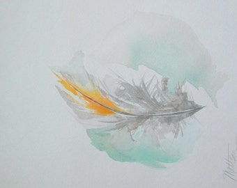 """SALE   Feather Song Series """" A Soft Oriole Whisper""""  Originl, One of a Kind watercolor"""