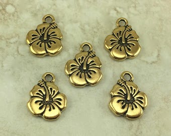 5 TierraCast Hibiscus Flower Charms > Tropical Hawaiian Floral Leii - 22kt Gold plated Lead Free Pewter - I ship Internationally 2307