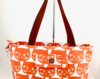 Orange Cat Print Canvas Tote Bag with Leather Handles. Handmade. FREE SHIPPING.