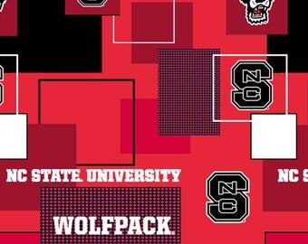 North Carolina State Wolfpack New Block 43 inch Cotton Fabric