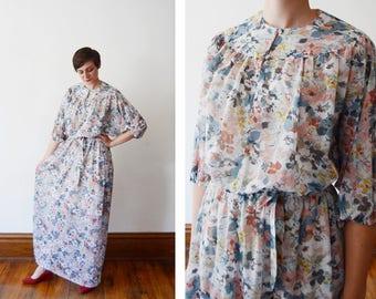 1970s Sheer Blue Floral Maxi Dress - M