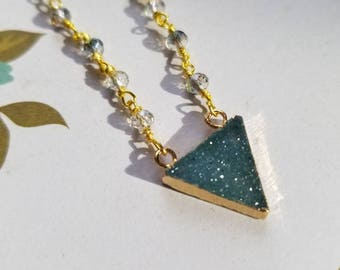 Druzy geometric triangle necklace - green and gold