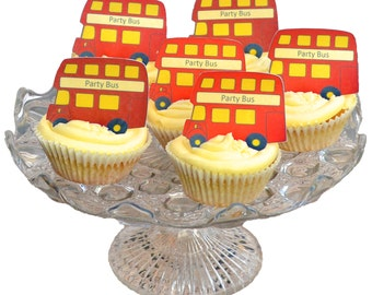 Edible RED London Double Decker Buses x 15 - Routemaster - Personalise - Wafers Rice Paper Cake Cupcake Biscuit Toppers Party Decoration
