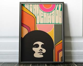 Wonderwall - affiche d'Art dans un très années 60 Style psychédélique hippie