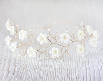 51_Ivory flower crown, Bridal tiara, wedding tiara, Gold tiara, Crystals headpiece, headband, bridal hair accessories, pearls, Gold headband